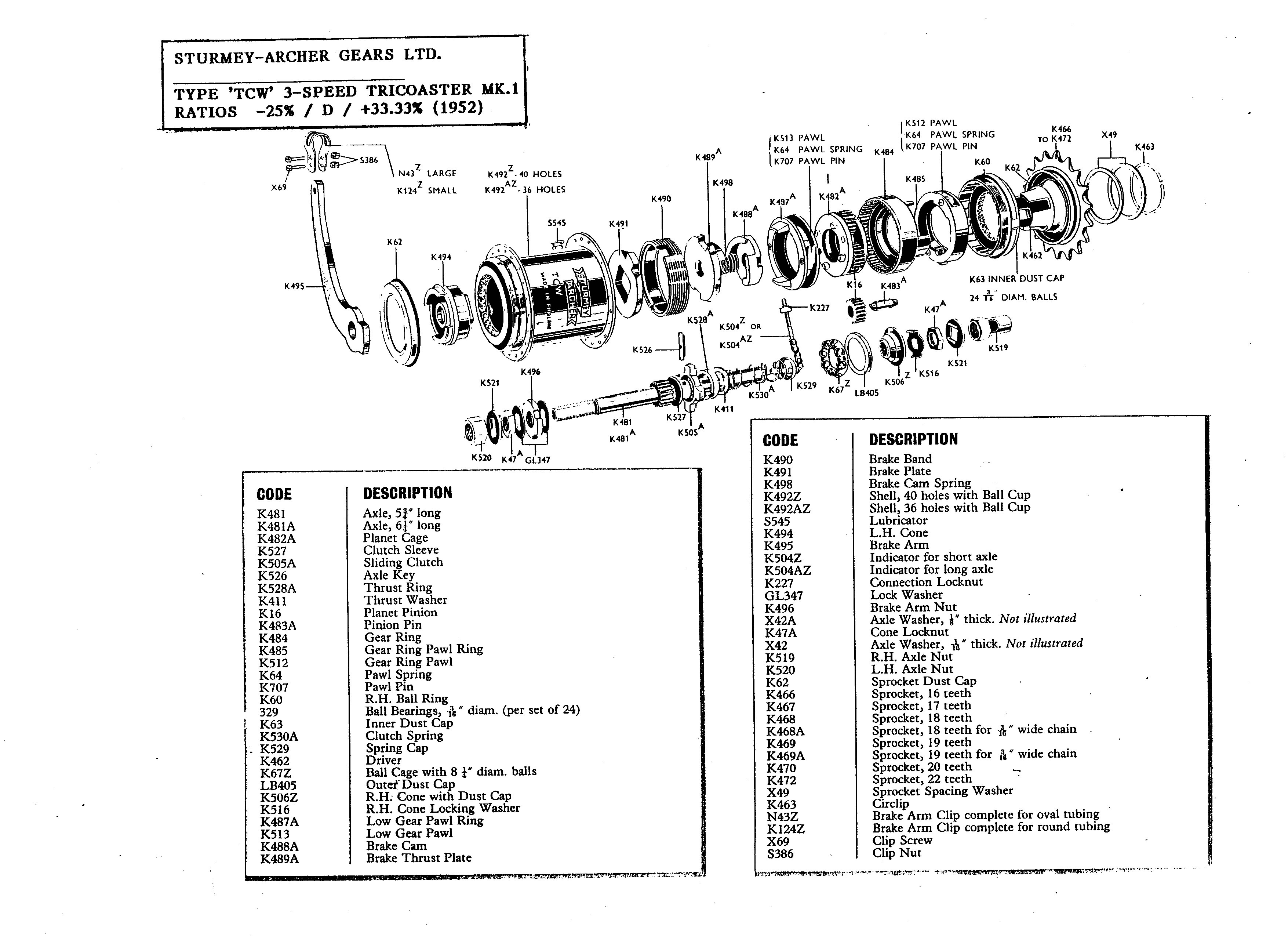 Servicing Sturmey Archer 3 Speed Hubs Brief History Exploded Part Diagrams 28 Parts 2 Pages Disassembly Another Source